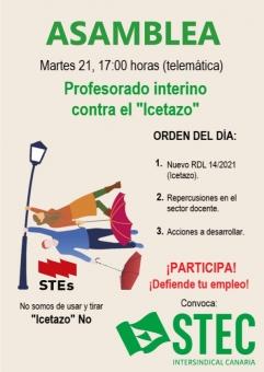 Asamblea del profesorado interino contra el Abuso de Temporalidad y el ''Icetazo''