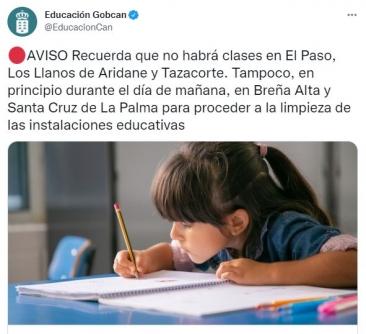Se suspende las clases en los municipios de Santa Cruz de La Palma y Breña Alta por las cenizas