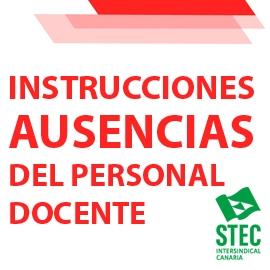 Instrucciones reguladoras ausencias del personal docente